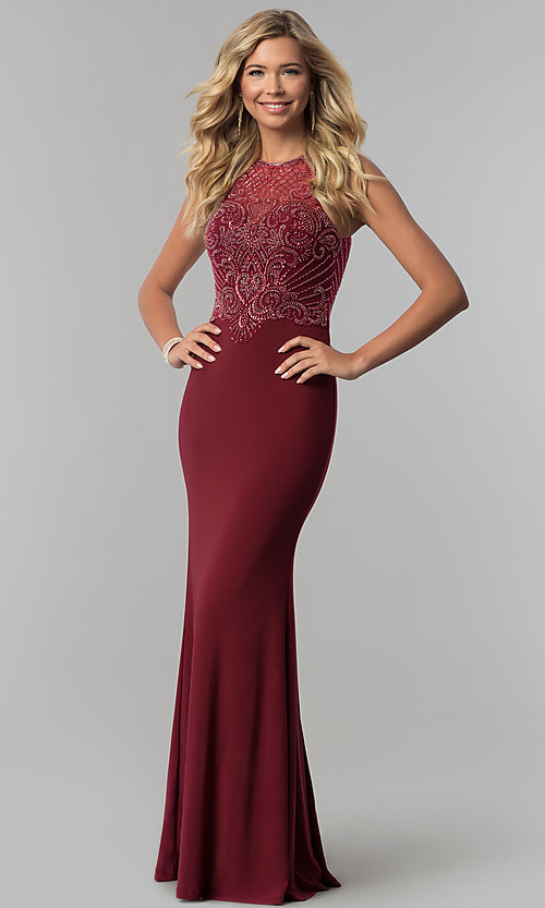 Image of illusion-bodice high-neck long prom dress. Style: FB-GL1507 Front Image