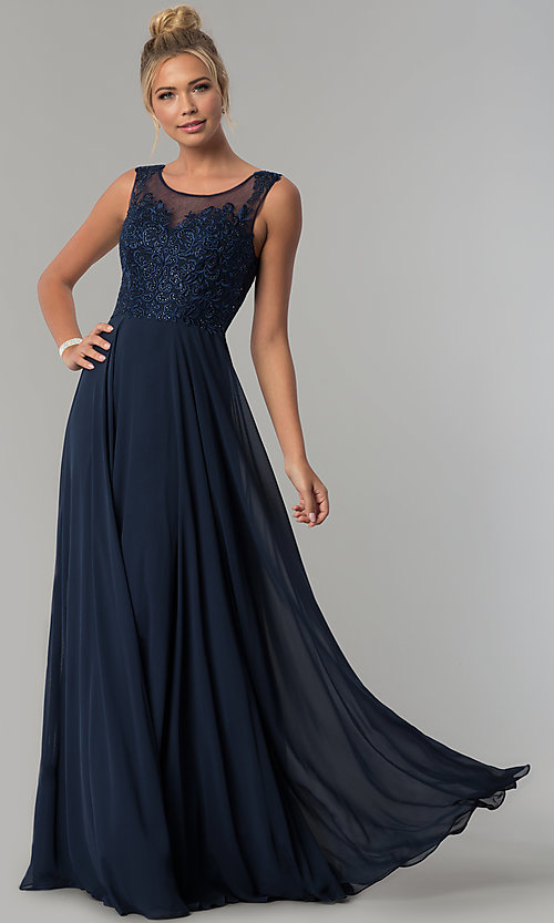 Image of scoop-neck long chiffon prom dress with open back.  Style: FB-GL1569 Front Image
