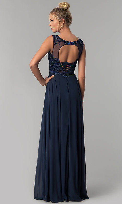 Image of scoop-neck long chiffon prom dress with open back.  Style: FB-GL1569 Back Image