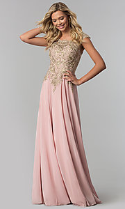 Long Chiffon Formal Prom Dress with Gold Embroidery