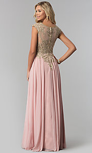 Image of long chiffon formal prom dress with gold embroidery. Style: FB-GL2407 Back Image