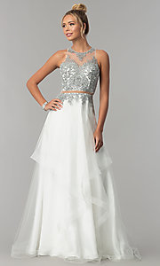 Image of long mock-two-piece embellished-bodice prom dress. Style: FB-GL1594 Front Image