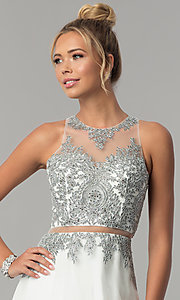 Image of long mock-two-piece embellished-bodice prom dress. Style: FB-GL1594 Detail Image 1