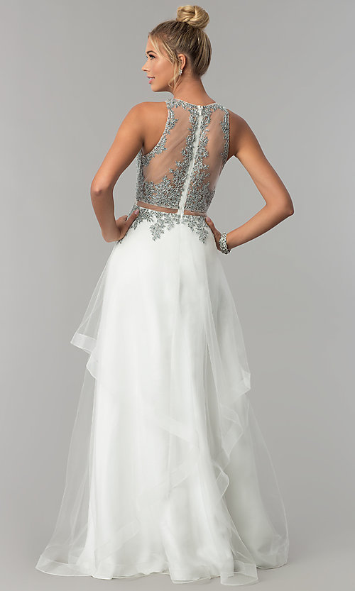 Image of long mock-two-piece embellished-bodice prom dress. Style: FB-GL1594 Back Image