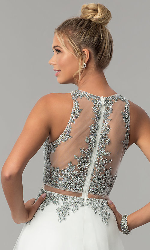 Image of long mock-two-piece embellished-bodice prom dress. Style: FB-GL1594 Detail Image 2