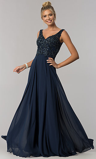 V-Neck Beaded-Bodice Long Chiffon Prom Dress