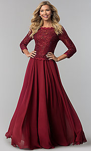 Lace-Bodice Long Chiffon Prom Dress with 3/4 Sleeves
