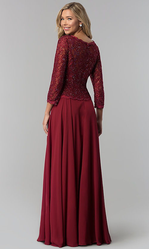Image of lace-bodice long chiffon prom dress with 3/4 sleeves. Style: FB-GL1509 Back Image