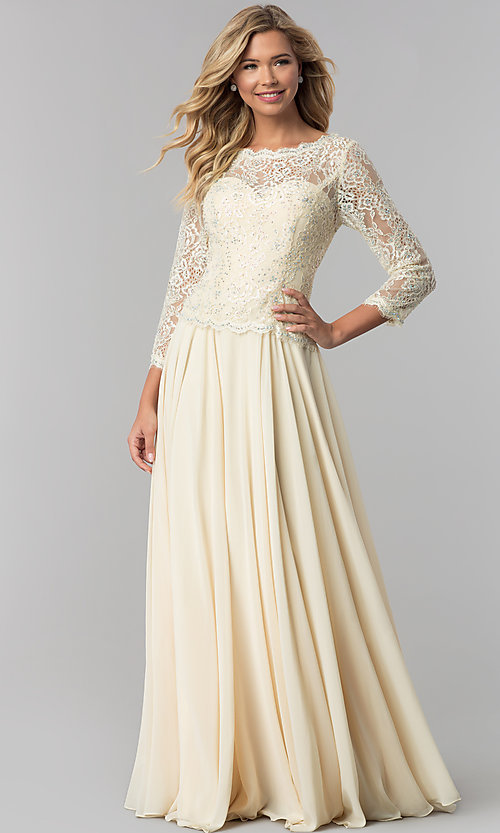 Image of lace-bodice long chiffon prom dress with 3/4 sleeves. Style: FB-GL1509 Detail Image 2
