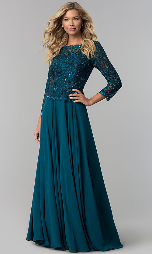 Image of lace-bodice long chiffon prom dress with 3/4 sleeves. Style: FB-GL1509 Detail Image 3