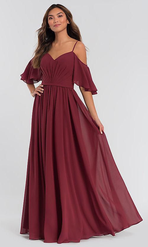 Image of long chiffon cold-shoulder a-line bridesmaid dress. Style: KL-200011 Front Image