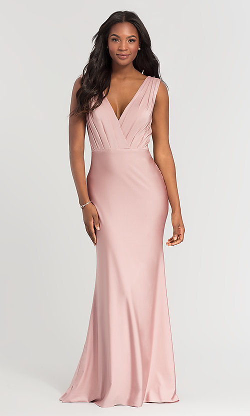 Image of jersey long v-neck bridesmaid dress. Style: KL-200021 Front Image