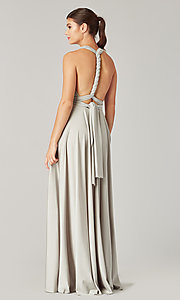 Image of long bridesmaid dress with convertible bodice. Style: KL-200022 Detail Image 7