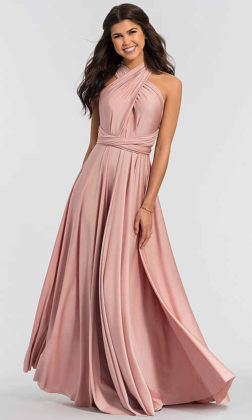 Image of long bridesmaid dress with convertible bodice. Style: KL-200022 Detail Image 1