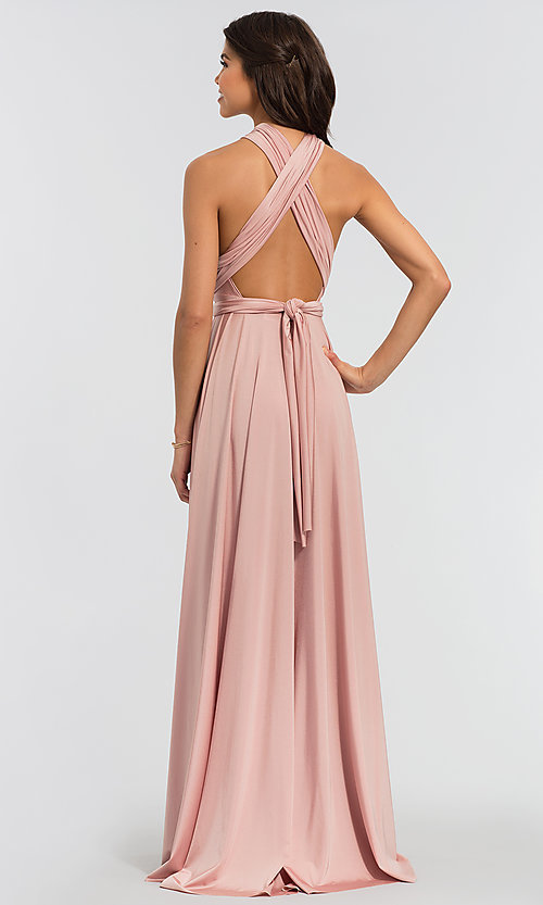 Image of long bridesmaid dress with convertible bodice. Style: KL-200022 Back Image