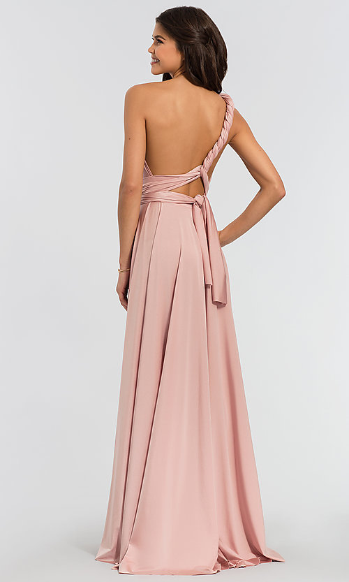 Image of long bridesmaid dress with convertible bodice. Style: KL-200022 Detail Image 2