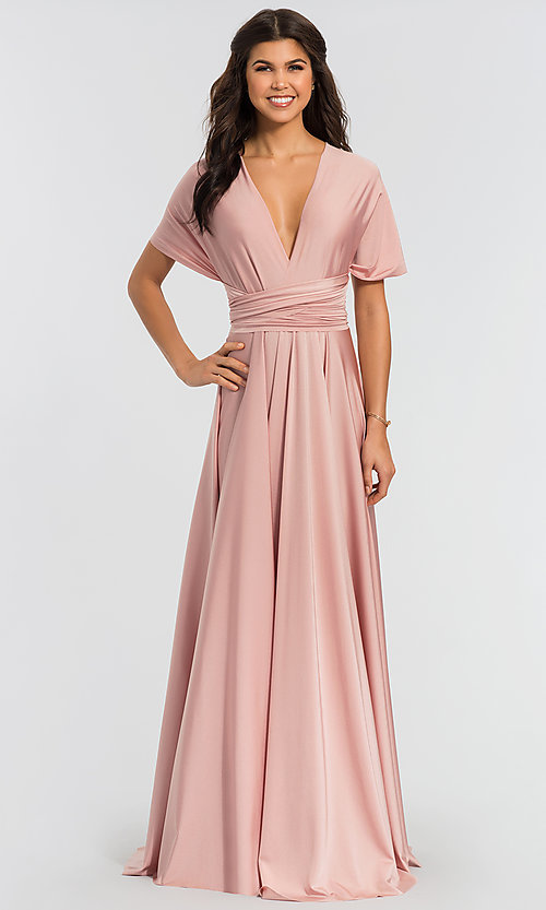 Image of long bridesmaid dress with convertible bodice. Style: KL-200022 Detail Image 3