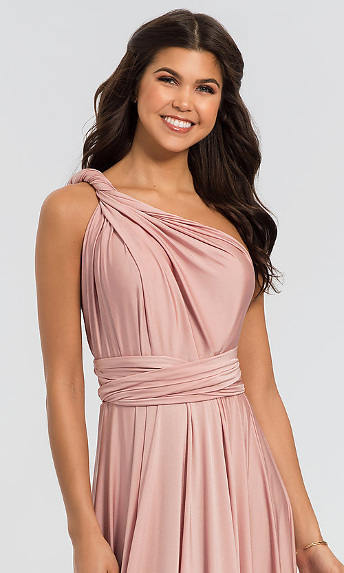 Image of long bridesmaid dress with convertible bodice. Style: KL-200022 Detail Image 5