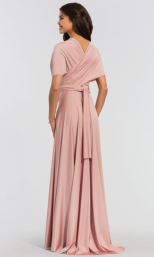 Image of long bridesmaid dress with convertible bodice. Style: KL-200022 Detail Image 4