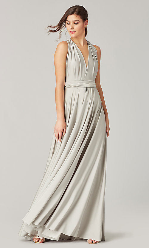 Image of long bridesmaid dress with convertible bodice. Style: KL-200022 Detail Image 6