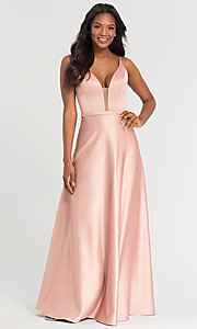 Image of plunging-v-neck long a-line bridesmaid dresses. Style: KL-200031 Detail Image 6