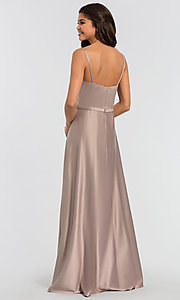 Image of plunging-v-neck long a-line bridesmaid dresses. Style: KL-200031 Back Image