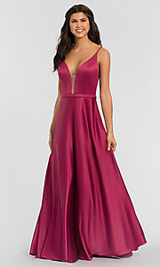 Image of plunging-v-neck long a-line bridesmaid dresses. Style: KL-200031 Detail Image 4
