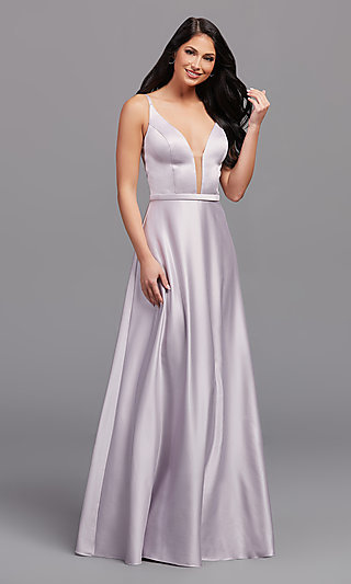 Plunging-V-Neck Long A-Line Bridesmaid Dress
