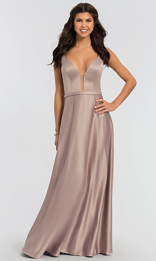 Image of plunging-v-neck long a-line bridesmaid dresses. Style: KL-200031 Detail Image 1