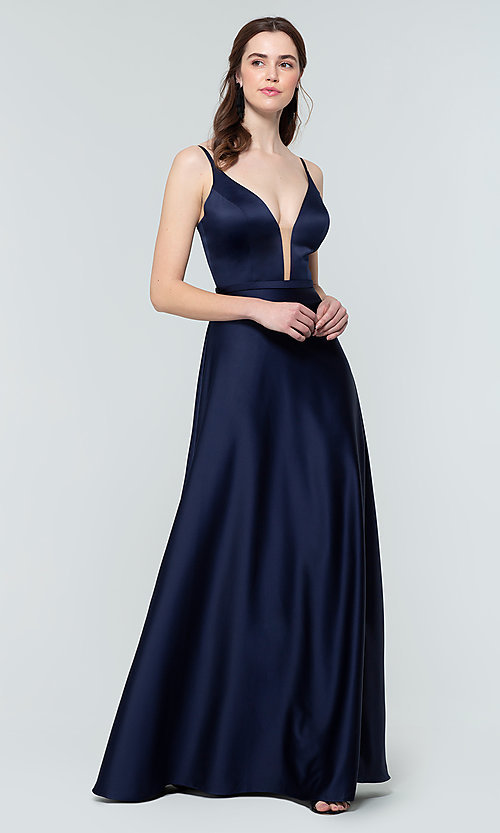 Image of plunging-v-neck long a-line bridesmaid dresses. Style: KL-200031 Detail Image 7