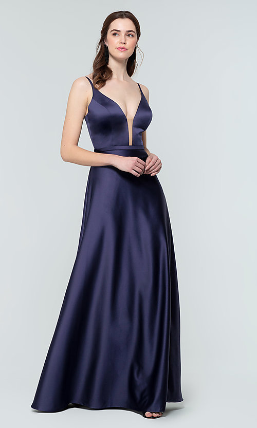 Image of plunging-v-neck long a-line bridesmaid dresses. Style: KL-200031 Front Image