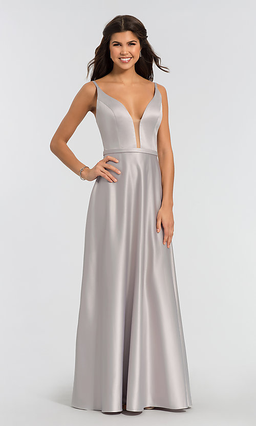 Image of plunging-v-neck long a-line bridesmaid dresses. Style: KL-200031 Detail Image 5