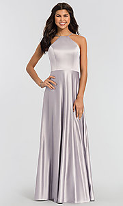 Image of long high-neck formal bridesmaid dress. Style: KL-200032 Front Image