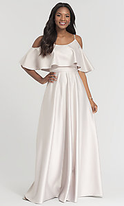 Image of cold-shoulder crepe Kleinfeld bridesmaid dress. Style: KL-200034 Detail Image 7
