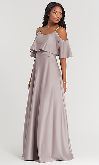 Cold-Shoulder Crepe Kleinfeld Bridesmaid Dress