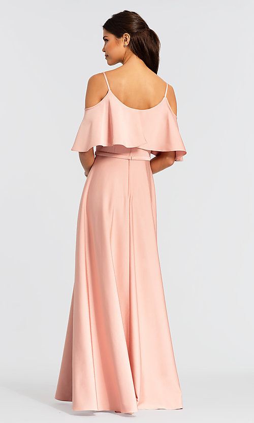 Image of cold-shoulder crepe Kleinfeld bridesmaid dress. Style: KL-200034 Back Image