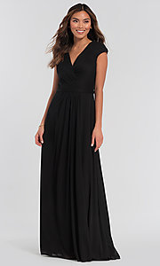 Image of pleated-bodice long bridesmaid dress by Kleinfeld. Style: KL-200035 Detail Image 6