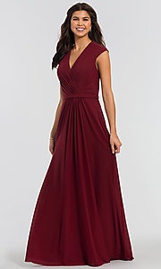Image of pleated-bodice long bridesmaid dress by Kleinfeld. Style: KL-200035 Front Image