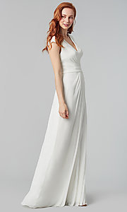 Image of pleated-bodice long bridesmaid dress by Kleinfeld. Style: KL-200035 Detail Image 2