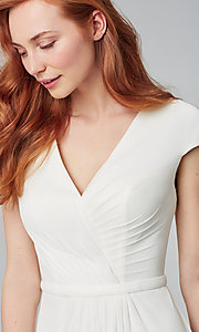 Image of pleated-bodice long bridesmaid dress by Kleinfeld. Style: KL-200035 Detail Image 3