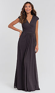 Image of pleated-bodice long bridesmaid dress by Kleinfeld. Style: KL-200035 Detail Image 7