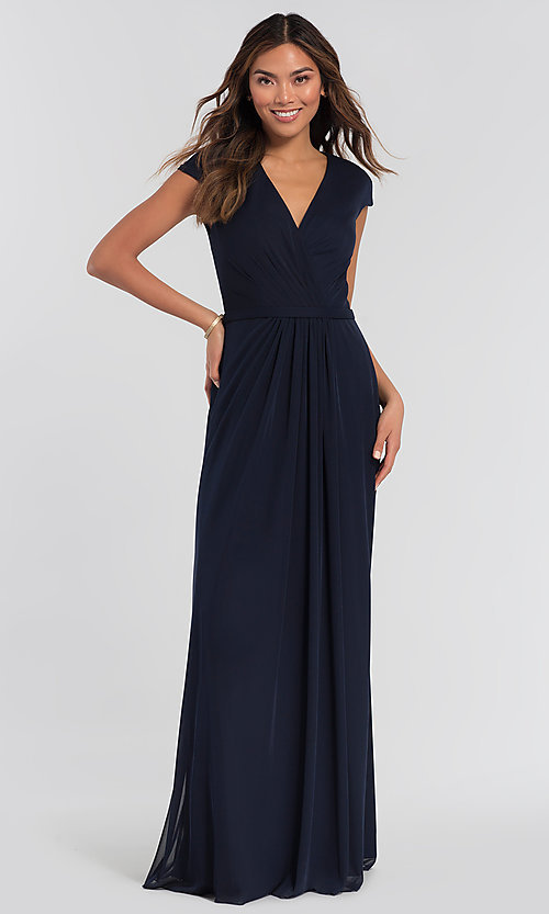 Image of pleated-bodice long bridesmaid dress by Kleinfeld. Style: KL-200035 Detail Image 5