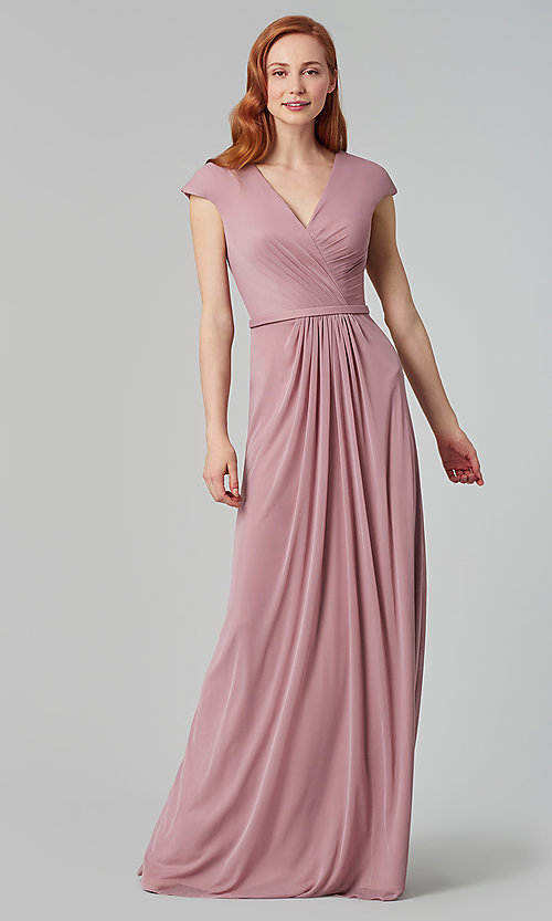 Image of pleated-bodice long bridesmaid dress by Kleinfeld. Style: KL-200035 Detail Image 8