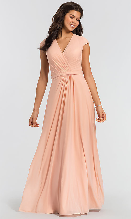 Image of pleated-bodice long bridesmaid dress by Kleinfeld. Style: KL-200035 Detail Image 4