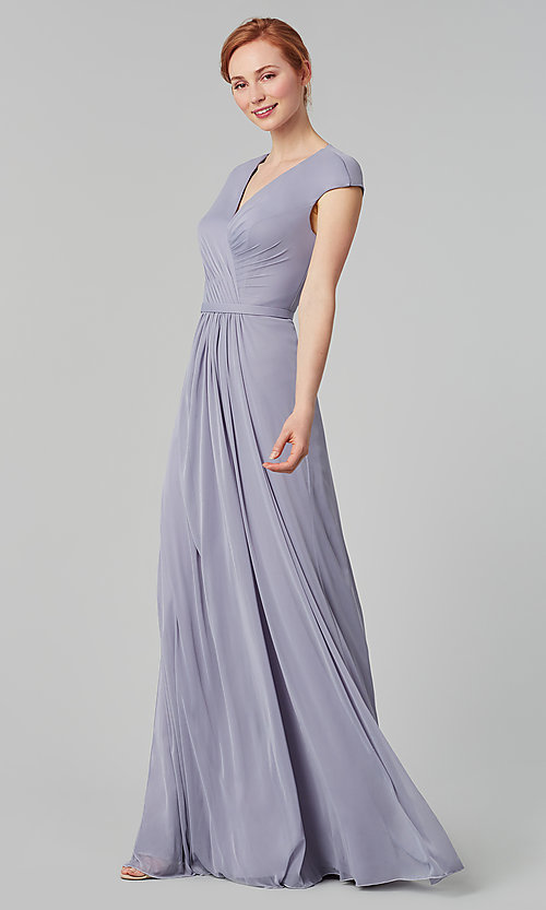 Image of pleated-bodice long bridesmaid dress. Style: KL-200035 Detail Image 8