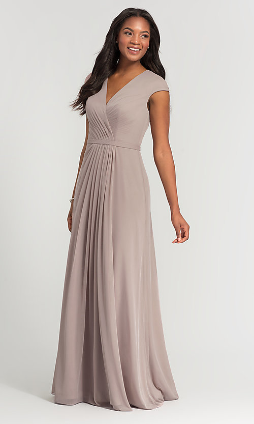 Image of pleated-bodice long bridesmaid dress by Kleinfeld. Style: KL-200035 Detail Image 1