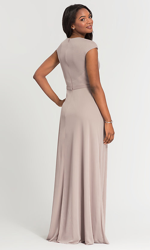 Image of pleated-bodice long bridesmaid dress by Kleinfeld. Style: KL-200035 Back Image