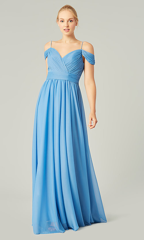 Image of cold-shoulder stretch chiffon bridesmaid dress. Style: KL-200038 Detail Image 8