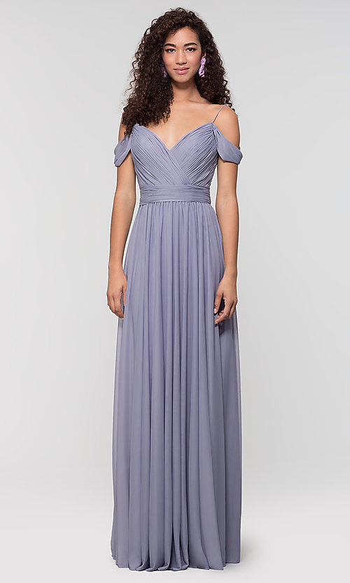 Image of cold-shoulder stretch chiffon bridesmaid dress. Style: KL-200038 Detail Image 7