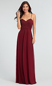 Image of pleated-bodice stretch chiffon bridesmaid dress. Style: KL-200039 Front Image